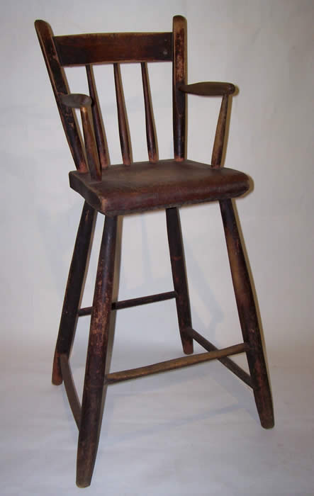 It's a shaker style wooden high chair that looks a lot like this. - Antique Highchair, Am I Crazy? : Beyondthebump